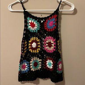 Multi Color Crochet Crop Top